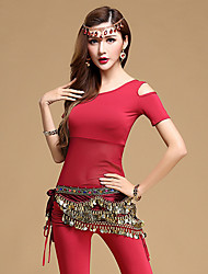 cheap -Belly Dance Outfits Women's Training Modal Sequin Short Sleeves Natural Top