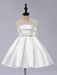 cheap -A-Line Knee Length Flower Girl Dress - Satin / Tulle Sleeveless Jewel Neck with Bow(s) / Draping / Sash / Ribbon by LAN TING Express