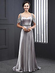 cheap -Sheath / Column Scoop Neck Sweep / Brush Train Charmeuse Formal Evening Dress with Beading / Sequin 2020