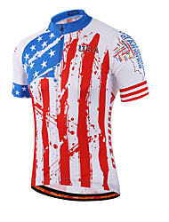 cheap -Miloto Men's Women's Short Sleeve Cycling Jersey Red and White Stripes Plus Size Bike Shirt Sweatshirt Jersey Breathable Quick Dry Reflective Strips Sports Coolmax® 100% Polyester Mountain Bike MTB