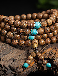 cheap -Men's Women's Couple's Turquoise Chain Bracelet Charm Bracelet Bead Bracelet Crossover Personalized Vintage Bohemian Double-layer Fashion Wooden Bracelet Jewelry Brown For Wedding Party Daily Casual