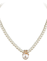 cheap -Women's Choker Necklace Pendant Necklace Ladies European Fashion Pearl Rhinestone Silver Plated Gold Silver Necklace Jewelry For Wedding Party Daily Casual Masquerade Engagement Party / Gold Plated