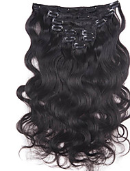 cheap -Clip In Human Hair Extensions Body Wave Human Hair Dark Black