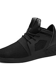 cheap -Men's Comfort Shoes Rubber / Tulle Spring / Fall Sneakers Walking Shoes Slip Resistant Black / Black / White / Athletic / Lace-up / Split Joint / EU40
