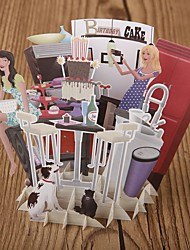 cheap -Paper Craft 3D Pop-up Greeting Card For Birthday Festival Party