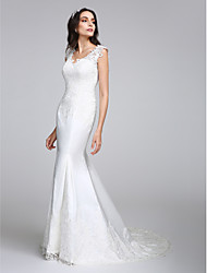 cheap -Mermaid / Trumpet V Neck Court Train Satin Regular Straps See-Through Made-To-Measure Wedding Dresses with Appliques / Button 2020