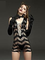 cheap -Women's Mesh Gartered Lingerie / Ultra Sexy / Teddy Nightwear Solid Colored Black XL XXL XXXL