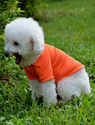 cheap -Dog Shirt / T-Shirt Solid Colored Casual / Daily Dog Clothes Yellow Red Blue Costume Baby Small Dog Cotton XS S M L XL