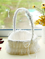 "cheap -Flower Basket Satin / Lace 9 1/2"" (24 cm) Rhinestone / Ribbons 1 pcs"