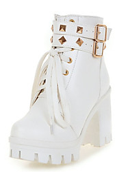 cheap -Women's Boots Block Heel Boots Chunky Heel / Block Heel Leatherette Fashion Boots Fall / Winter White / Black / Wedding / Party & Evening / EU42