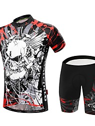 cheap -Malciklo Men's Short Sleeve Cycling Jersey with Shorts Skull Bike Clothing Suit Breathable 3D Pad Quick Dry Back Pocket Sports Coolmax® Lycra Skull Mountain Bike MTB Road Bike Cycling Clothing Apparel