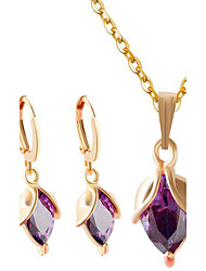 cheap -Women's Cubic Zirconia Pendant Necklace Necklace / Earrings Fashion Zircon Earrings Jewelry Gold / Purple For Party Daily Casual Work