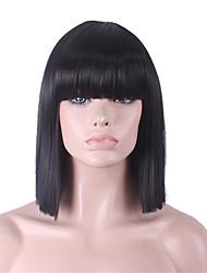cheap -Synthetic Wig Straight Kardashian Straight Yaki Bob Neat Bang Wig Short Natural Black Synthetic Hair 12 inch Women's With Bangs Black