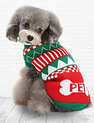 cheap -Cat Dog Sweater Winter Dog Clothes Green Blue Costume Cotton Stripes Casual / Daily Keep Warm Christmas XS S M L XL XXL