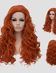 cheap -Synthetic Wig Curly With Bangs Wig Long Orange Synthetic Hair Women's Red