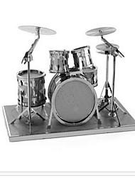 cheap -1 pcs Musical Instruments Drum Set Jazz Drum 3D Puzzle Model Building Kit Metalic Toy Gift