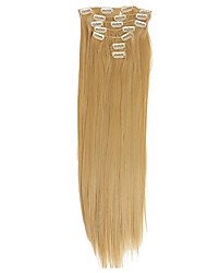 cheap -Clip In Human Hair Extensions Straight Virgin Human Hair Human Hair Extensions Brazilian Hair Women's Medium Auburn