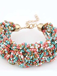 cheap -Women's Girls' Chain Bracelet Charm Bracelet Bead Bracelet Ladies Personalized Vintage Bohemian European Resin Bracelet Jewelry Golden / Light Blue / Rainbow For Wedding Party Daily Casual Sports