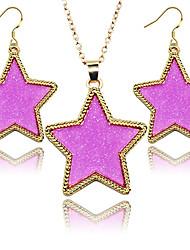 cheap -2016 New Fashion Jewelry Sets Golden Frame Pentagram Star Shiny Fluorescent 2 pcs Women Jewelry Sets