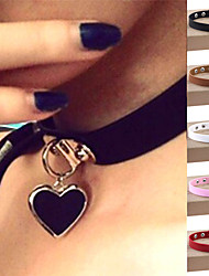 cheap -Women's Choker Necklace Pendant Necklace Collar Necklace Heart Love Ladies Personalized Vintage Punk Leather Silver Plated Alloy Black Light Blue Light Brown Dark Brown White Necklace Jewelry For