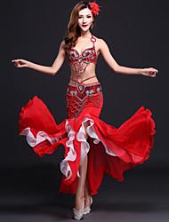 cheap -Belly Dance Outfits Women's Performance Rayon / Chiffon Satin Sequin / Split Front Sleeveless Natural Skirt / Bra / Belt