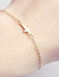 cheap -Women's Chain Bracelet Charm Bracelet Sideways Cross Cross Friends Ladies Simple Style Alloy Bracelet Jewelry Gold For Christmas Gifts Daily Office & Career