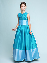 cheap -A-Line / Princess Jewel Neck Floor Length Taffeta Junior Bridesmaid Dress with Draping / Sash / Ribbon / Spring / Fall / Winter / Apple / Hourglass