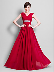 cheap -A-Line V Neck Floor Length Chiffon Sleeveless Open Back Mother of the Bride Dress with Beading / Side Draping 2020