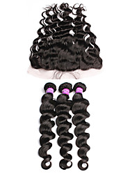 cheap -Malaysian Hair Loose Wave Virgin Human Hair Hair Weft with Closure Human Hair Weaves Human Hair Extensions