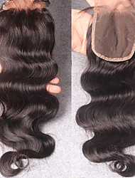Недорогие -Индийские волосы 100% ручная работа Естественные кудри Бесплатный Часть / Средняя часть / 3 Часть Швейцарское кружево человеческие волосы Remy / Натуральные волосы