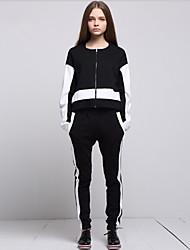 cheap -ARNE® Women's Round Neck Long Sleeve Sets Black-A018