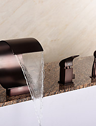 cheap -Bathtub Faucet - Art Deco / Retro Oil-rubbed Bronze Roman Tub Ceramic Valve Bath Shower Mixer Taps / Brass / Single Handle Three Holes