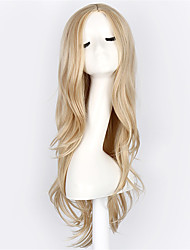 cheap -Synthetic Wig Cosplay Wig Wavy Wavy Wig Blonde Blonde Synthetic Hair Blonde