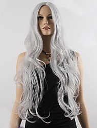 cheap -fashion natural wavy long length grey color popular synthetic wig for woman cosplay wig Halloween