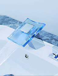 cheap -Bathroom Sink Faucet - Widespread / LED Chrome Widespread Two Handles Three HolesBath Taps