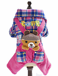 cheap -Dog Jumpsuit Winter Dog Clothes Blue Pink Costume Polar Fleece Cotton Plaid / Check Animal British Fashion S M L XL XXL