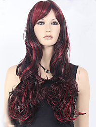 cheap -Synthetic Wig Wavy Wavy Wig Long Burgundy Synthetic Hair Women's Red