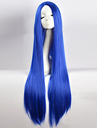cheap -Synthetic Wig Cosplay Wig Straight kinky Straight Minaj kinky straight Straight Asymmetrical Wig Long Blue Synthetic Hair Women's Natural Hairline Blue