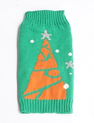 cheap -Cat Dog Sweater Winter Dog Clothes Green Costume Cotton Snowflake Holiday Christmas XS S M