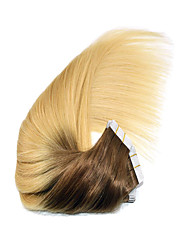 cheap -PANSY Tape In Human Hair Extensions Straight Human Hair Ombre Medium Brown / Bleach Blonde