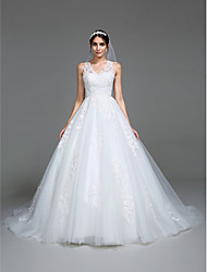 cheap -Ball Gown / Princess V Neck Chapel Train Tulle Sleeveless Made-To-Measure Wedding Dresses with Appliques 2020