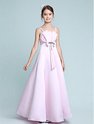 cheap -Princess / A-Line Spaghetti Strap Floor Length Stretch Satin Junior Bridesmaid Dress with Bow(s) / Beading / Empire / Spring / Summer / Fall / Winter