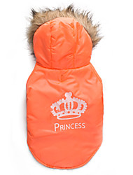 cheap -Cat Dog Coat Hoodie Dog Clothes Tiaras & Crowns Orange Cotton Costume For Winter Men's Women's Keep Warm