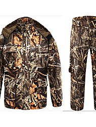 cheap -Men's Hunting Jacket with Pants Outdoor Anti-Wear Fall Winter Spring Camo / Camouflage Fashion Clothing Suit Elastane Polyester Long Sleeve Camping / Hiking Hunting Fishing / Stretchy