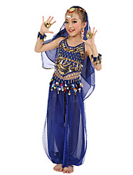 cheap -Belly Dance Outfits Performance Polyester / Chiffon Satin Gold Coin / Sequin Sleeveless Natural Top