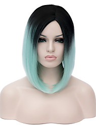 cheap -ombre short wig women s cute fringe straight bob cosplay wig heat resistant black green color short synthetic wig Halloween