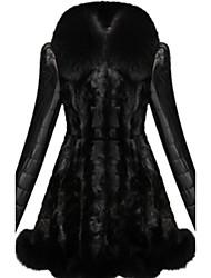 Недорогие -Женский На каждый день / Вечеринка/коктейль / Большие размеры Однотонный / Контрастных цветов Пальто с мехом Воротник шалевого типа,Секси