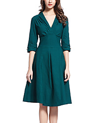 cheap -Women's Navy Blue Green Dress Vintage Street chic Going out Swing Solid Colored Deep V Ruched S M / Cotton