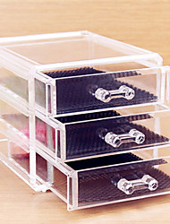 cheap -Makeup Cosmetics Storage 3 Tiers / Removable Drawears Makeup 1 pcs Acrylic / Plastic Classic Daily Cosmetic Grooming Supplies