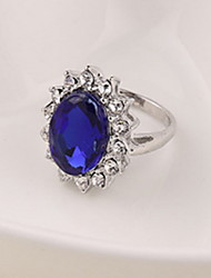 cheap -Statement Ring Sapphire Solitaire Silver Zircon Alloy Cocktail Ring Statement Ladies Fashion / Women's